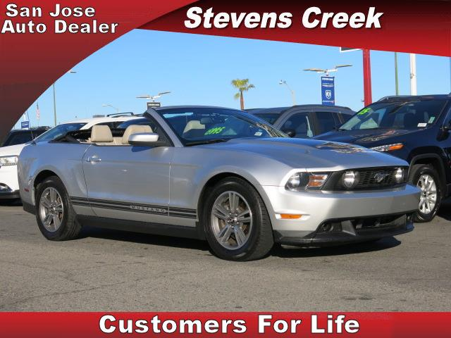 2011 FORD MUSTANG CONVERTIBLE silver v6 37 liter automatic folding side mirrors  leather  po