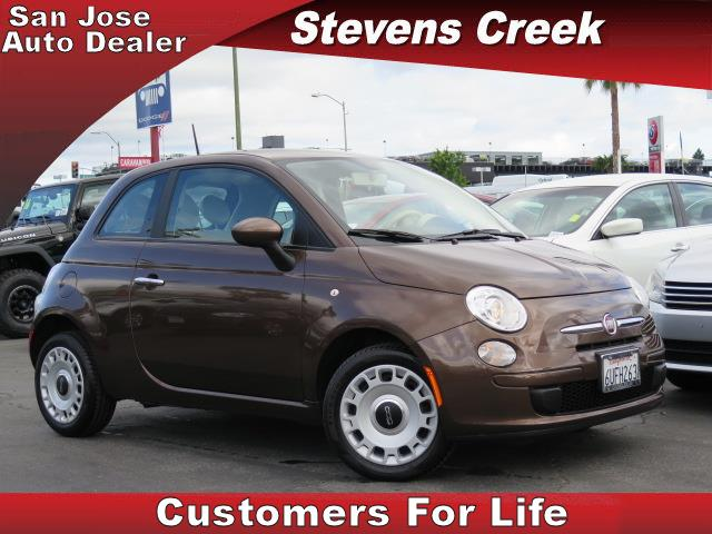 2012 FIAT 500 500 brown 14l 4 cylinder engine manual leather  amfm stereo  traction control