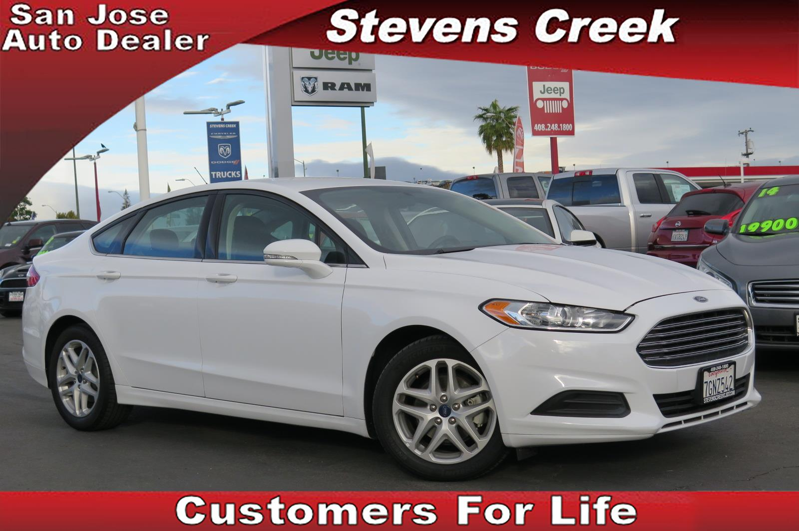 2015 FORD FUSION SE white 25l inline 4 automatic power windows  vehicle diagnostics  heated