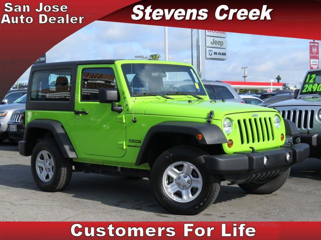 2012 JEEP WRANGLER WRANGLER green v6 36 liter manual folding side mirrors  tilt wheel  amfm