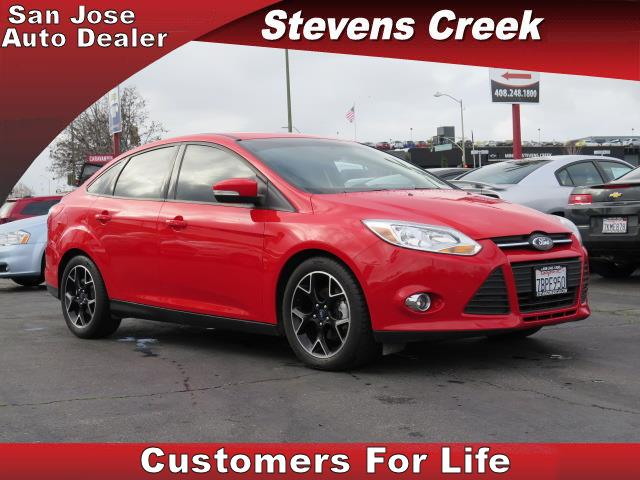 2014 FORD FOCUS SE SEDAN red 4-cyl flex fuel 20l automatic leather  power windows  tilt whee