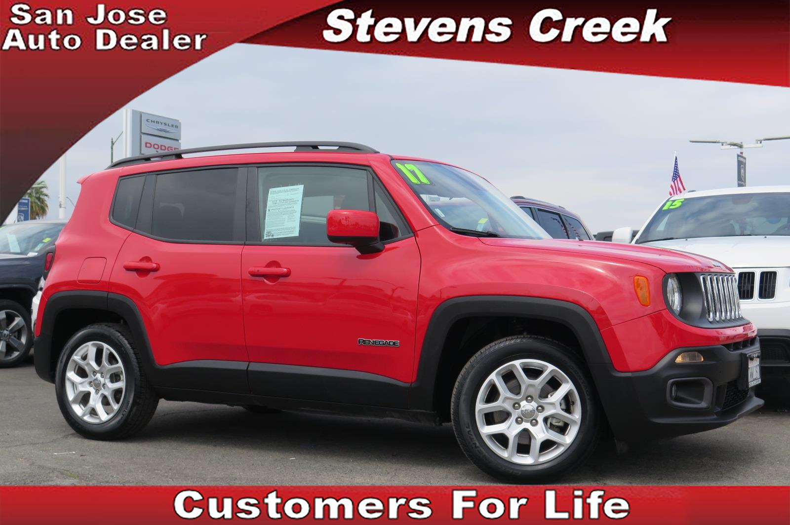 2017 JEEP RENEGADE LATITUDE red 24l 4 cylinder automatic rear wiper  power windows  heated e